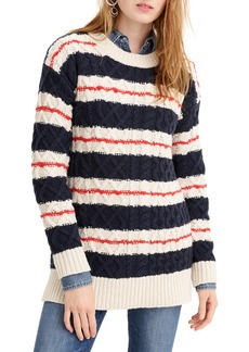 J.Crew Stripe Cable Knit Tunic Sweater