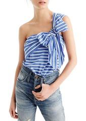 J.Crew Stripe Cotton One-Shoulder Bow Top