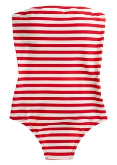 J.Crew Stripe Cross Back Bandeau One-Piece Swimsuit