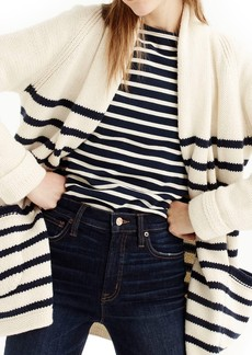 J.Crew Stripe Long Open Cardigan