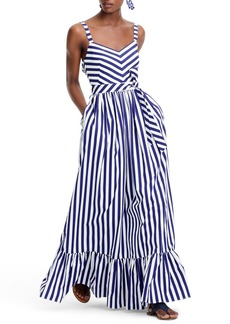 J.Crew Stripe Ruffle Cotton Maxi Dress (Regular & Plus Size)