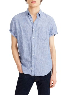 J.Crew Stripe Short Sleeve Linen Shirt