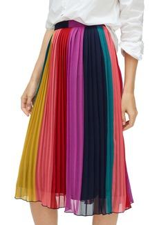 J.Crew Sunburst Rainbow Colorblock Pleated Midi Skirt