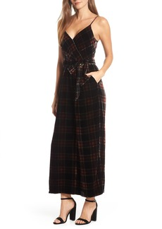 J.Crew Tartan Plaid Velvet Jumpsuit with Waist Tie