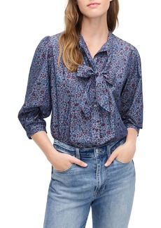 J.Crew Tie Neck Blouse in Liberty Colombo Chambray