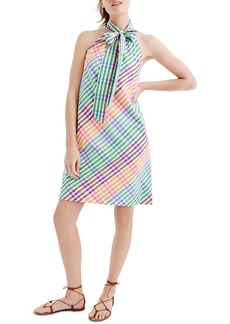 J.Crew Tie Neck Rainbow Gingham Dress (Regular & Petite)