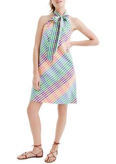 J.Crew Tie Neck Rainbow Gingham Dress (Regular & Petite)