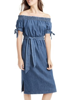J.Crew Tie Waist Chambray Off the Shoulder Dress (Regular & Petite)