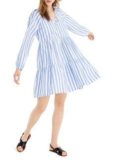 J.Crew Tiered Popover Dress in Striped Poplin