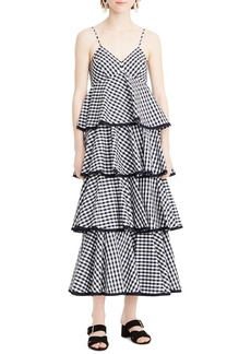 J.Crew Tiered Spaghetti Strap Gingham Maxi Dress