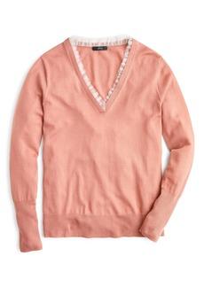 J.Crew Tulle Trim V-Neck Sweater