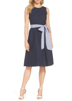 J.Crew Two-Tone Tie Waist Sheath Dress (Nordstrom Exclusive)