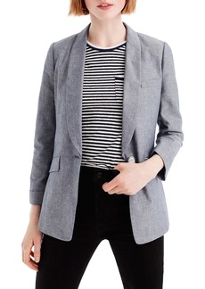 J.Crew Unstructured Shawl Collar Cotton Linen Blazer (Regular & Petite)