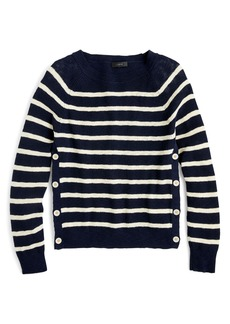 J.Crew Vivian Stripe Crewneck Side Button Sweater