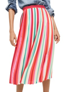 J.Crew Watermelon Stripe Pleat Skirt