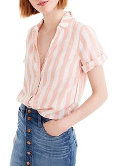 J.Crew Wide Stripe Short Sleeve Button-Up Shirt