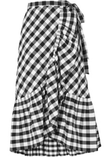 J.crew Woman Glo Ruffled Gingham Cotton-poplin Wrap Skirt Black