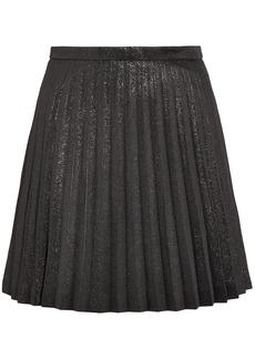 J.crew Woman Pleated Cotton-blend Lamé Mini Skirt Black