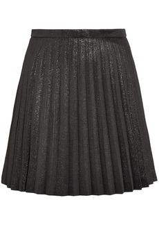 J.crew Woman Pleated Cotton-blend Lamé Mini Skirt Black