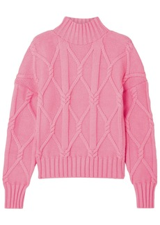 J.crew Woman Tucker Cable-knit Cotton-blend Sweater Pink