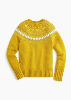 J.Crew Jeweled embellished Fair Isle crewneck sweater
