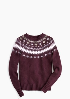 J.Crew Jeweled embellished Fair Isle crewneck sweater