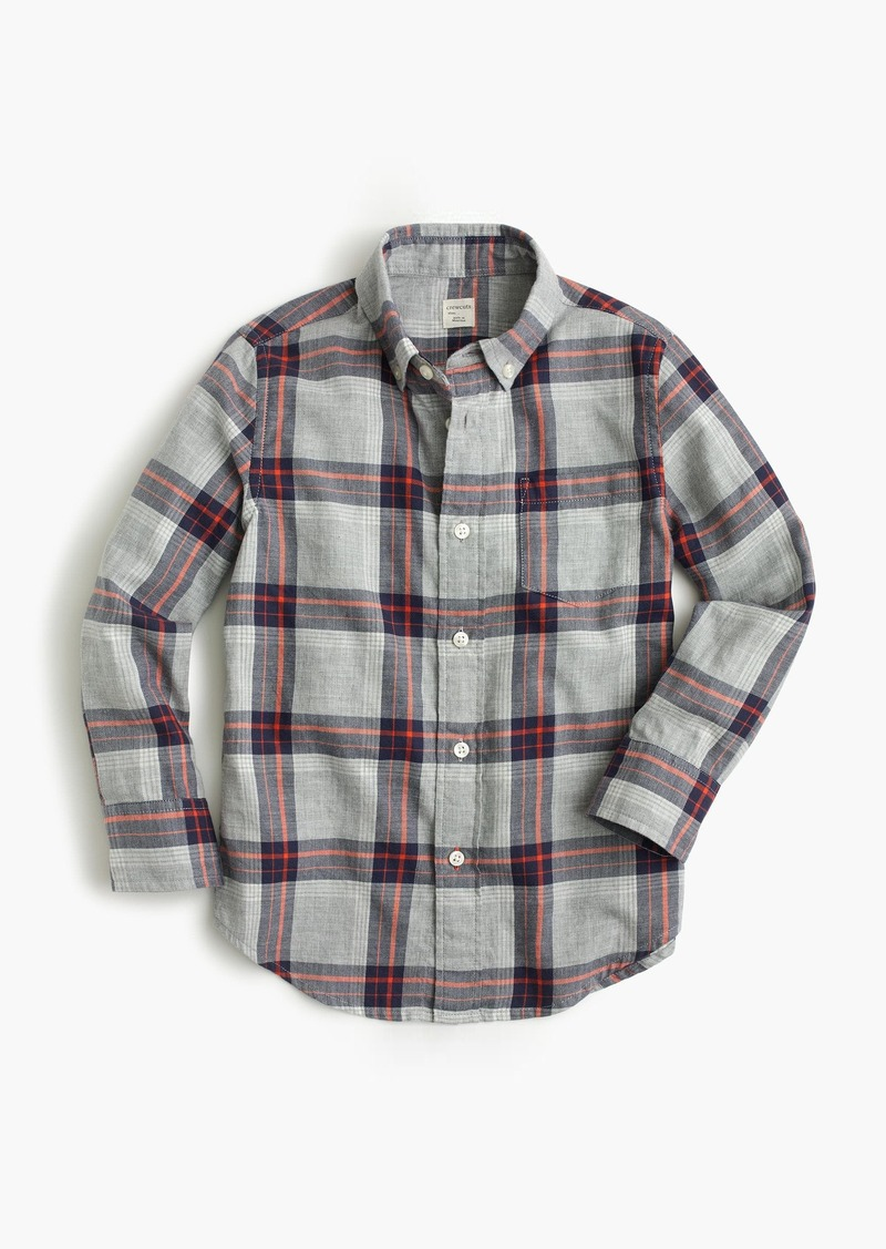 d7f3c3f567f794 J.Crew Kids' lightweight flannel shirt in grey plaid   Shirts