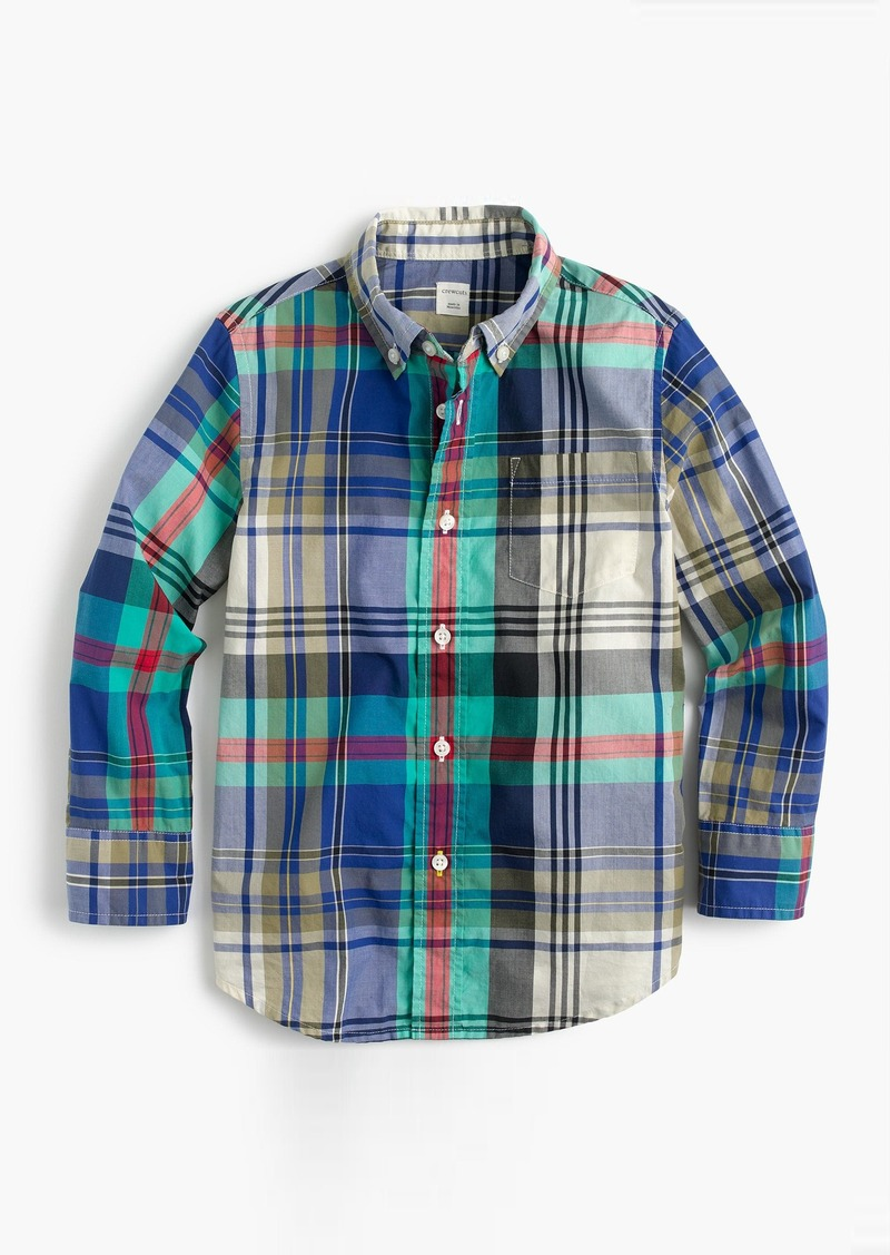 98f928be86f025 J.Crew Kids' lightweight flannel shirt in multicolored plaid   Shirts