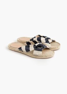 J.Crew Knotted espadrille slides in stripe