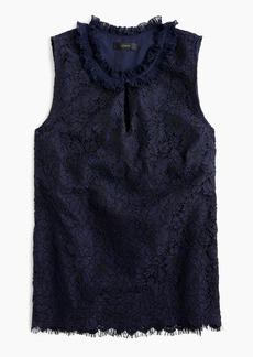 J.Crew Tall lace ruffle-neck top