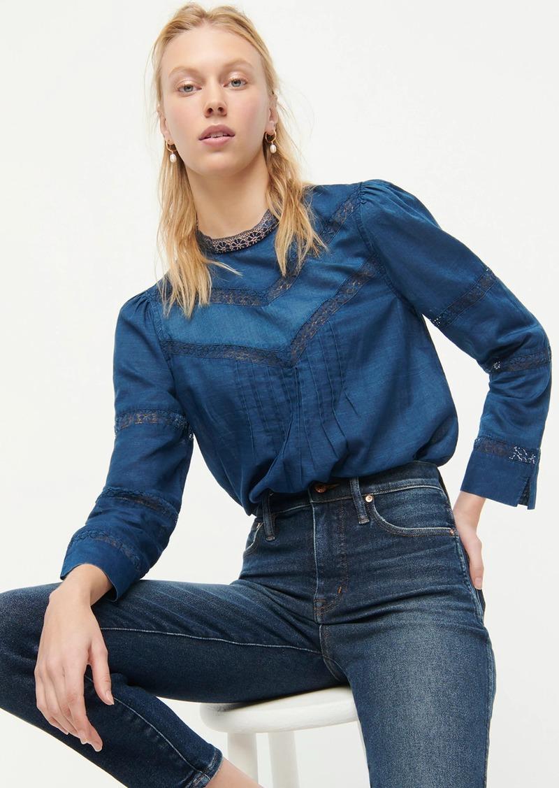 J.Crew Lace-trim mockneck blouse in indigo voile