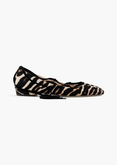 Lace-up flats in leopard calf hair