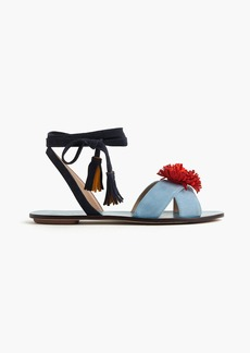 J.Crew Lace-up suede sandals with pom-pom