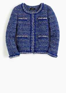 J.Crew Lady jacket in multicolor cobalt tweed with braided trim