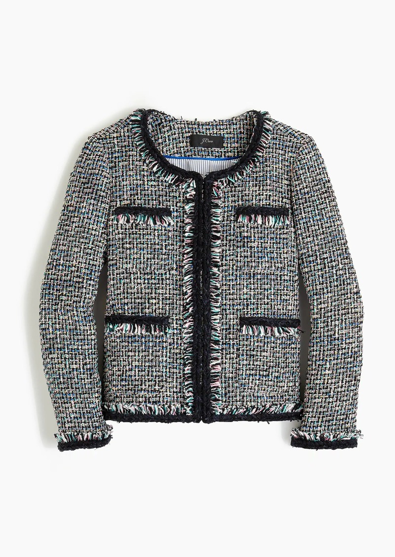 Lady jacket in multicolor metallic tweed with braided trim