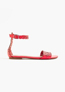 J.Crew Leather eyelet sandals with ankle strap