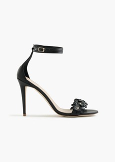 J.Crew Leather flower high-heel ankle-strap sandals