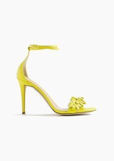 J.Crew Leather flower high-heel ankle-strap sandals