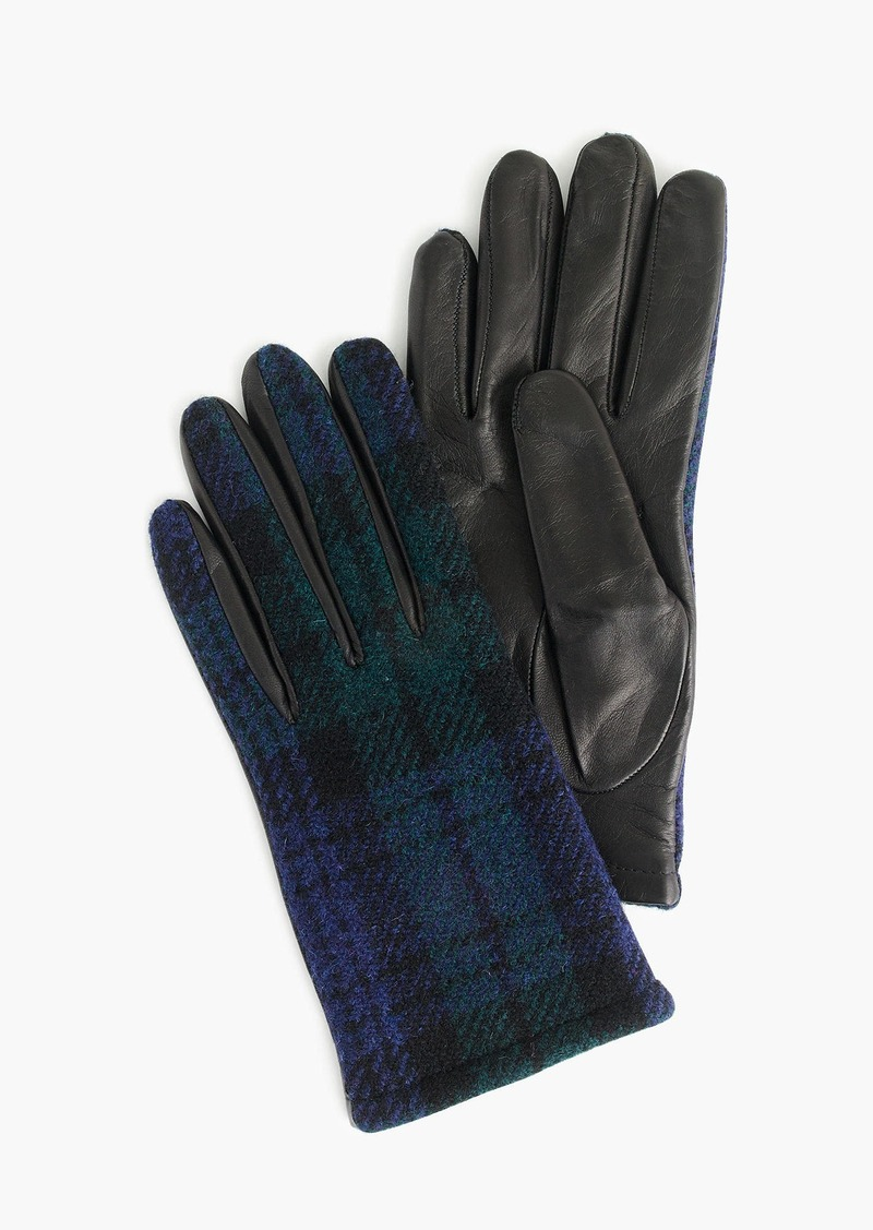 635129543cf J.Crew Leather gloves with Black Watch