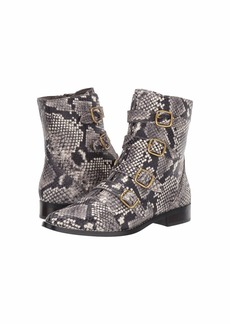 J.Crew Leather Multi Buckle Troy Boot Embossed Snake