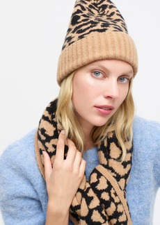 J.Crew Leopard-print beanie in supersoft yarn