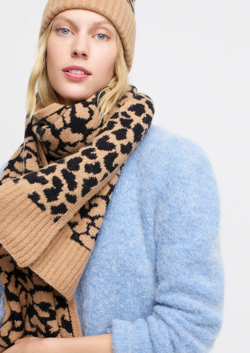 J.Crew Leopard-print scarf in supersoft yarn