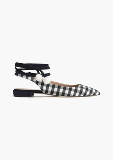 Lily ankle-wrap flats in gingham