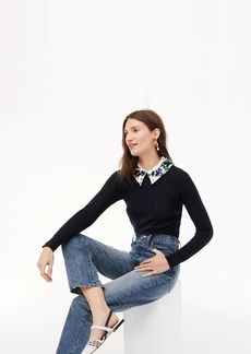 J.Crew Limited-edition ribbed Tippi sweater with embellished collar