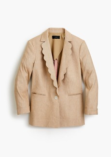 J.Crew Linen blazer with scalloped collar