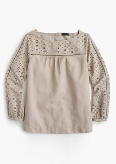 Linen-cotton eyelet top