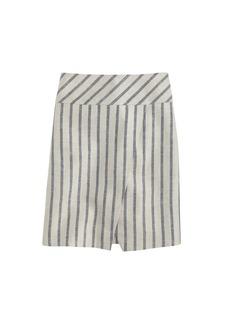 Linen crossover wrap skirt in stripe