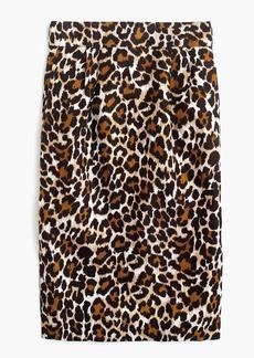 J.Crew Linen pencil skirt in leopard print