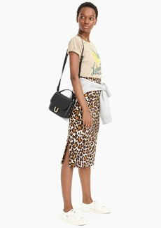 J.Crew Linen pencil skirt in leopard print