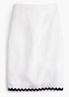 J.Crew Linen pencil skirt with rickrack trim